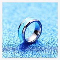 Anillos de acero joyería NUEVA alta calidad pulido turquesa estilo anillos de banda para hombre Breve tungsteno anillos del acero
