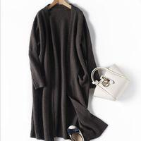 Mujeres Negro Cardigan de punto las mujeres a largo suéter de las rebecas de invierno elegante otoño suéteres caliente de la capa tamaño asiático S-XL
