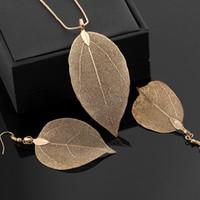 Blatt Design Schmuck Sets Halskette Ohrringe Set für Frauen Mädchen Dame Silber Rose Gold Schwarz Mode Anhänger Charme Schmuck Anzug Schmuck Geschenk