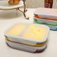 Foldable silicone lunch boxes 2 grids with lids food storage...