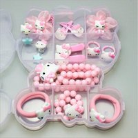 beb29150d 1 Gift Set Hello Kitty Hairpin Accessories For Baby Girls Kids Children  Hair Clips Barrette Rubber Bands Headdress Accessories