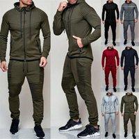 Homens 2pcs Sports Define Casual Fold Pants Magro masculinos Tracksuits dos homens empilhados Conjuntos Primavera Outono manga comprida com capuz Matching