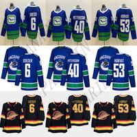 Novo Vancouver Canucks # 40 Elias Pettersson # 6 Brock Boeser # 53 Bo Horvat 33 Henrik Sedin 10 Pavel Bree 89 Alexander Mogilny Hockey Jerseys