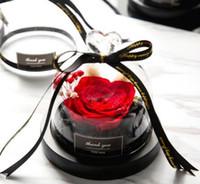 Preservado Día de San Valentín Regalo exclusivo Rose en cúpula de vidrio con luces Eternal Real Rose Día de la Madre Regalo