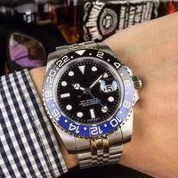 Top Quality Wristwatches GMT Automatic Mechanical Black Blue Batman Ceramic Bezel Jubilee Master Sapphire Glass 40MM Men Watch