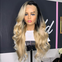 Brazillian Body Wave Lace Front Wig 1B 613 Ombre Blonde Colo...