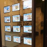 (10 unités / Pack) A4 Double Side LED rétro-éclairé Fenêtre affiche signe Affiche avec système de suspension par câble Lightbox pour les agents immobiliers