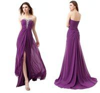 el envío libre 2020 elegante púrpura elegante del sujetador formal vestidos de noche de dama de honor vestidos de baile Halter Cola Slits HY024