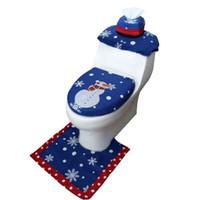 3PCS عيد الميلاد تغطية مقعد المرحاض بابا نويل حصيرة عيد الميلاد ديكور الحمام سانتا مقعد المرحاض تغطية البساط الديكور المنزلي