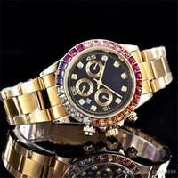 aço inoxidável Assista Bezel Diamante Moda de Nova 3A Luxo Dia Relógios ouro da data utomatic Masculino Movimento Mecânica Mens relógio de pulso