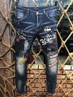 DSQ PHANTOM TURTELT Klassische Mode Mann Jeans Hip Hop Rock Moto zufällige Männer Entwurf zerrissenen Jeans-Distressed Enge Jeans Biker DSQ Jeans 6934