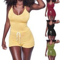 Femmes Casual manches lacées moulante Jumpsuit taille Sexy Clubwear Combinaison Bandage Pantalon court pour dames