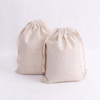 100 шт. / лот натуральный цвет хлопчатобумажные сумки небольшой партии благосклонности льняной шнурок подарочный мешок Муслин мешок браслет ювелирные изделия упаковка сумки