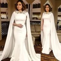 ASO EBI 2020 арабский простые сатиновые русалки вечерние платья с мысом Crystal Crystal Geam Jewel Prom платья формальная вечеринка второе приема платье