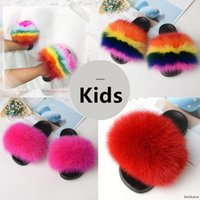 Real Fox Slippers Kids Winter Fur Child Home Slides Girls Sl...