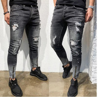 Mens Stylish Ripped Jeans skinny snellezza stilista Lavato Zipper Panelled Biker Etero Logoro denim stretch pantaloni Streetwear Pantaloni