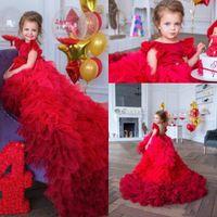 2020 новый дизайн прекрасный красный цветок девушки платья для свадьбы драгоценные шеи яроститые оборки разведка поездов день рождения девушка причастие Pageant
