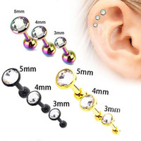 Wholesale 3pcs lot Stainless Steel Ear Piercing Studs Colorf...