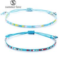 Nouvelle arrivée de riz perlé Weave chaîne corde Bracelets pour Hommes Femmes Mini Cristal Graine BeadsString Adjust Bijoux Journée de la main Valentine -Y