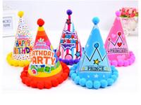 6 Style Chapeau d'anniversaire pour enfants avec ballon bébé Baby Année Anniversaire fête d'anniversaire Dress Up Fournitures Chapeau de boule en peluche DHL Expédition XD22702