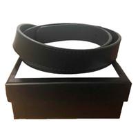 Herren Gürtel Qualitäts-doppel-Classic Brass Buckle reale echtes Leder-Männer Frauen Gürtel Geschenk 2,0 3,0 3,4 3,8 cm mit Box