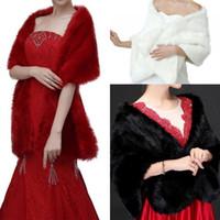 Moda Yeni Gelin Sarar Şallar Faux Kürk Şal Ceket Düğün Için Fildişi Kırmızı Siyah Kış Sıcak Gelin Ucuz 160 cm * 30 cm CPA1495