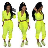 Casual Two Piece Tracksuit Women Clothes Turn Down Collar Lo...