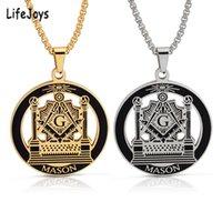 Freemason Necklace Masonic Pendant Freemasonry Jewelry Stainless Steel Free Mason Symbols Necklaces Men Gold Color Hip Hop Gift