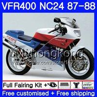 Kropp för Honda RVF400R VFR400RR RVF400RR VFR400R 1987 1988 267HM.31 VFR400 R Red White Blue NC24 V4 RVF VFR 400 R VFR 400R 87 88 Fairing Kit