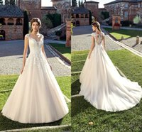 New Ivory Lace Appliques A Line Wedding Dresses 2019 Gorgeou...