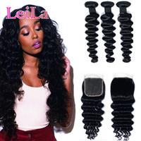 LEILA cabelo solto onda profunda 3 pacotes com fecho humano cabelo brasileiro tecer pacotes com fechamento 4 * 4 Remy extensão de cabelo