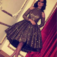 Bling Bling Black Sequin Short Prom Dresses High Neck Long Sleeve Cocktail Party Gowns Homecoming Dresses Custom Made