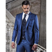 Fashion Blue Groom Tuxedos Notch Lapel Groomsmen Mens Weddin...