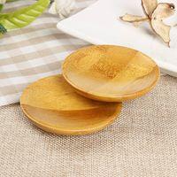 Натуральный бамбук небольшие круглые блюда чай мат каботажное судно сельских любовные чувства деревянные соус и уксус тарелки посуда тарелки лоток