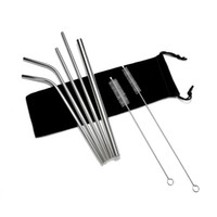 Stainless Steel Straw and brush Reusable Bend and Straight M...