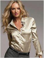 أزياء الجملة S-XXXL ن الساتان بلوزة من الحرير السيدات زر الحرير الساتان البلوزات قميص عارضة الأبيض الذهب الأسود الأحمر طويلة الأكمام الساتان بلوزة أعلى