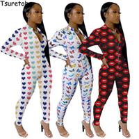 Женские комбинезоны Rompsers Tsuretobe Sexy Print Женская одежда Bodycon Club Outfits Повседневная длинная рукава молния комбинезон V-образным вырезом женский 2021