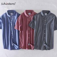 2020 Schinteon verano de los hombres camiseta 100% algodón de manga corta elegante delgada ocasional de la tela escocesa ajuste cómodo Turn-down Collar Nueva