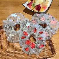 Полосы Корея Япония Женщины Упругие Kawaii шнурка волос Tie Стачать Цветочные девушки сетки Scrunchie Headwear Прозрачный тюль Аксессуары для волос