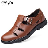 2019 Genuine Leather Men Sandals Shoes Fretwork Breathable F...