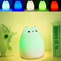 Premium-7 Farben-Katze LED USB Kinder Tiernachtlicht-Silikon-weiche Karikatur-Baby Nursery Lampe Breathing LED-Nachtlicht