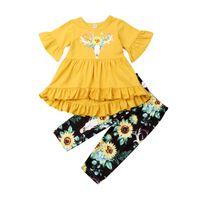 Çocuk Seti Butik Çocuk Kız Bebek Çiçek Baskı Ruffles Elbise Pantolon Uzun Pamuk Uzun Kollu Sonbahar İlkbahar Ücretsiz Kargo yazdır