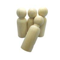 Недостроенные Деревянные Peg Куклы Деревянные куклы Крошка тела Люди украшения DIY Plain Blank невесты / для жениха Цифры Свадебный торт Toppers