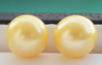 z6294 Real 12mm ROUND Golden Freshwater LOOSE PEARL ORECCHINI Orecchini da donna da donna nobiltà raffinata