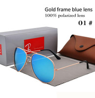 Markendesigner Polarized Sunglasses Classic Pilot Sonnenbrille für Männer Frauen Driving Brille UV400 Metallrahmen Flash Mirror polaroid Lense
