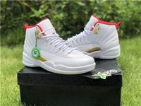 2019 del commercio all'ingrosso 12 XII FIBA ​​Basketball Mens Designer Shoes scarpe da ginnastica bianche 12s Università scarpe d'oro Red-Metallic