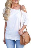 إمرأة عارضة قبالة الكتف القمصان أزياء الاتجاه الصلبة اللون السباغيتي حزام القمصان القمصان OL أنماط المحملات الصيف فضفاض فستان الشمس بلايز