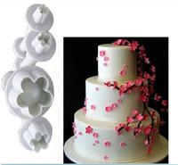 4шт / Set сливы цветок Плунжер Fondant Плесень Резак Sugarcraft торт инструменты украшения Новогодние украшения торта инструменты