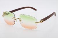 Randlose Diamantschnitt Mode Holz Sonnenbrillen 3524012-B Hohe Qualität C Dekoration Metall Gläser Männlich und weiblich Gold Metallrahmen Sonnenbrille Unisex Gold Braun Silber