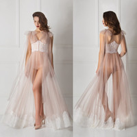 Tulle Lace Straps Sexy Women Robe Deep V Neck Ruffles Sleepw...